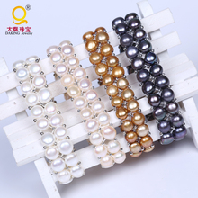 Wholesale 100% freshwater pearl bracelet double layer pearl beads bracelet for gift