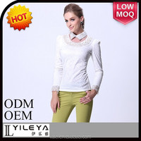 Fashional designed office blouse designs, white women new style blouse pattern