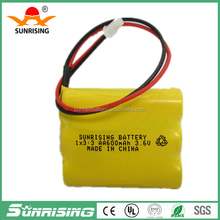 Rechargeable Battery pack 3.6v Ni-Cd AA 600 Batteries 3.6v battery pack