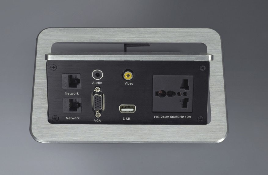 Customized pop up table desk power socket