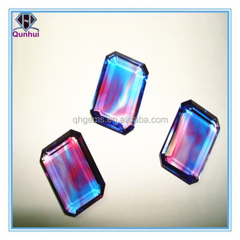 Rectangle shaped colorful glass gemstone jewelry