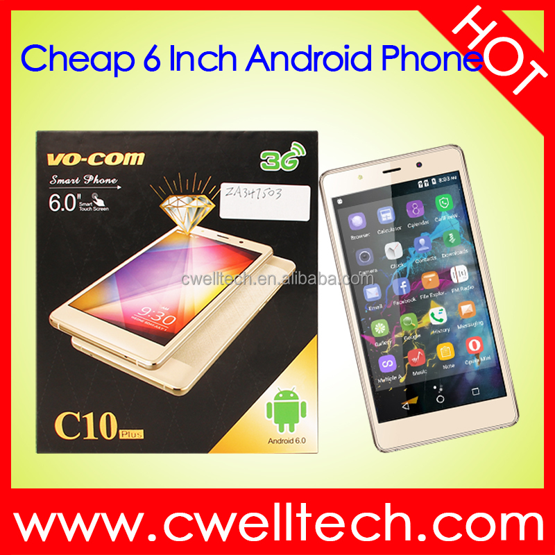 Most Slim 6 inch big touch screen mobile phone VO-COM <strong>C10</strong> SC7731 Quad Core Android 6.0 Smartphone