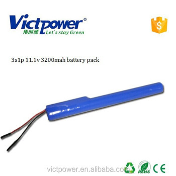 lithium battery pack 3s1p 11.1v 3200mah battery pack for LED light