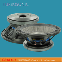 Big power 18 inch subwoofer 6 inch voice coil carbon cone dual dampers