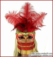 2012 Hot Design Handpainted Venice Style With Beads Red and Gold Masquerade Party Masks (A009B-RG)
