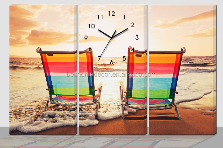 Ship harbor simple canvas painting wall clock Home decoration wall clock