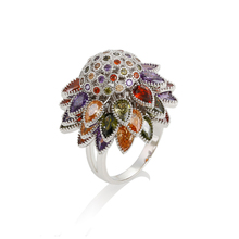 14820 Xuping luxury women jewelry flower shaped colorful zircon cluster costly finger ring for sale