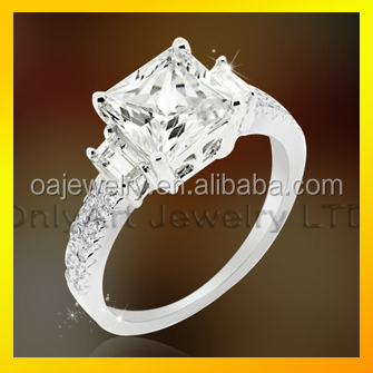 square diamon wedding ring, wholesale 925 sterling silver ring