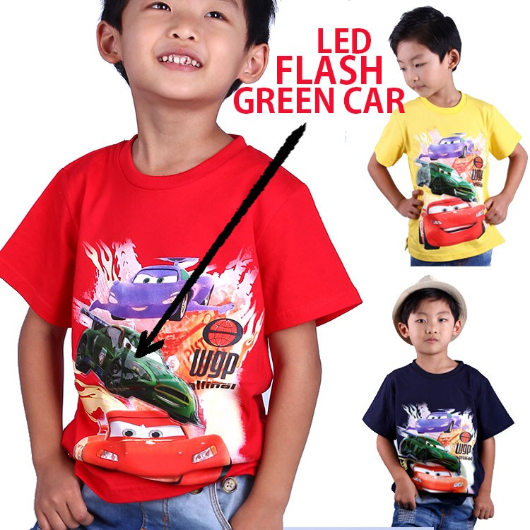 2016 fashion kids clothing led flashing lights up red cars boys t shirt 100% cotton fabric and cotton logo