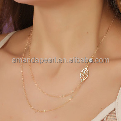 Hot selling fine chain two strand necklace with charms, summer design daity style choker necklace in gold, gold collar necklace