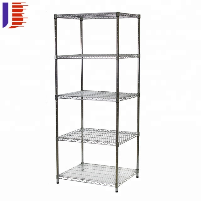 4 Tier Chrome Metal <strong>Rack</strong> / Wire Mesh Shelving For Storage / Wire Mesh Metal <strong>Rack</strong>