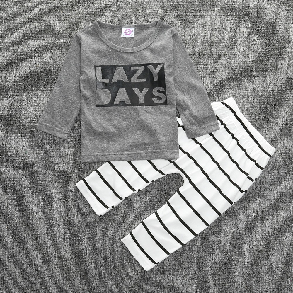 Children Clothing Fashion Suits New 2017 Spring Autumn Baby Clothing Sets Boys Girls Letter Shirts + Stripe Pants clothing set