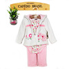 hooded baby girls clothing winter2 pcs sets thick coral fleece Under 6 years