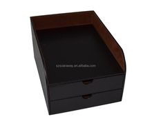 High quality leather desk organizer letter trays