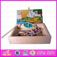 2015 Hot sale Kids Wooden magnetic fishing toy,Educational magnetic wooden fishing toy,3D preschool magnetic fish toy WJ277633