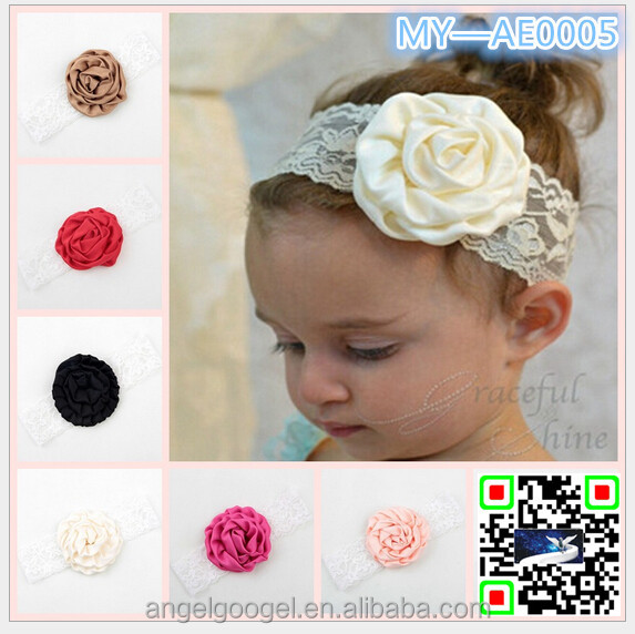 2015 Hot Sale Children Rose Hair Accessories 17 Color Baby Girls Chiffon Flower Lace Elastic Headband MY-AE0005