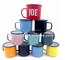 High-quality solid color enamel <strong>cup</strong> /customized enamel mug with handle