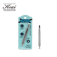 KQ4014 Dual-use personal care and beauty tool cuticle pusher and tweezers