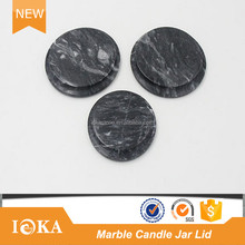 Ioka Stone Cheap Black and White Marble Candle Jar Lid for Sale