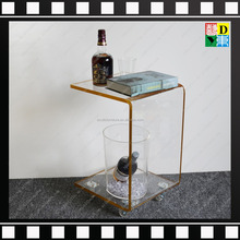 C shape Clear Acrylic coffee table with wheels