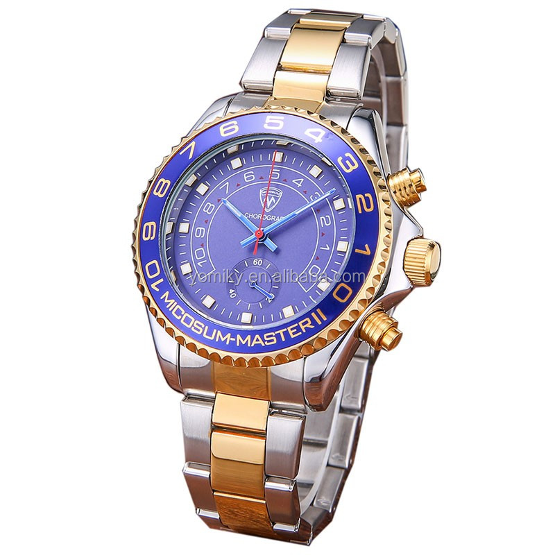 2016 New luxuxry chronograph quartz stainless steel watch water resistant