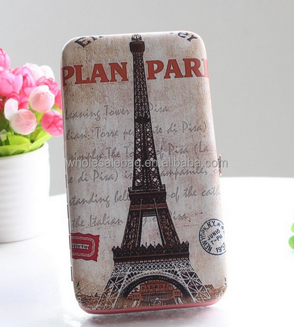 Digital Printing Eiffel Tower Wristlet Clutch Mobile Phone Wallet Purse For Iphone