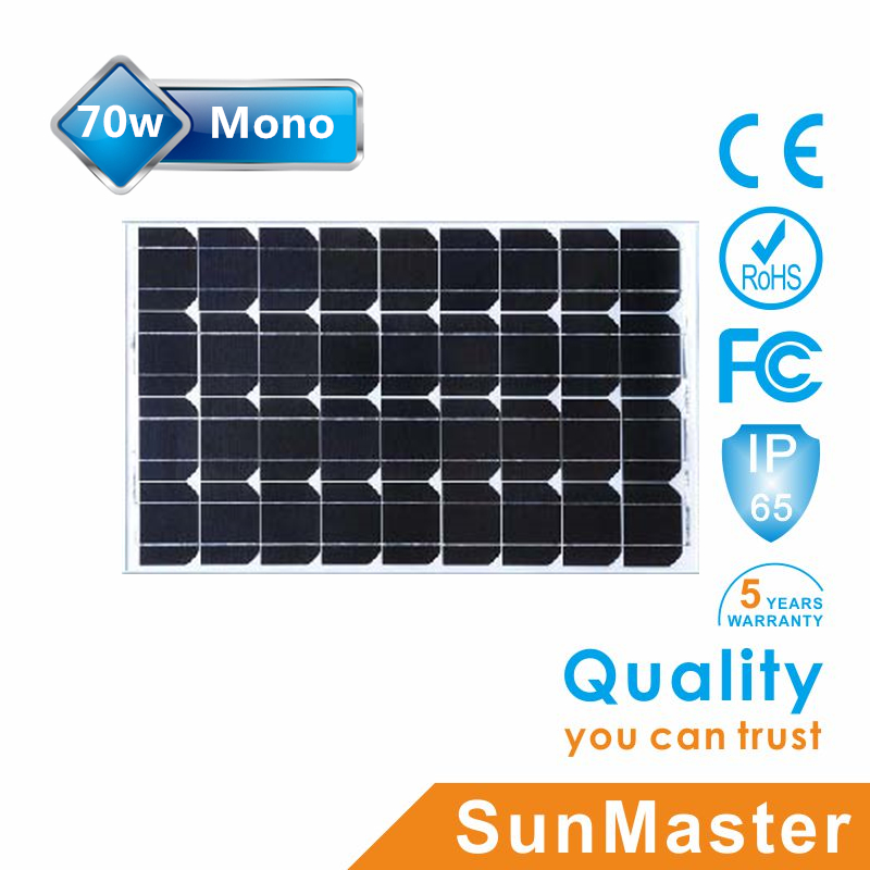 Chinese high quality solar cell 70W mono efficiency for sale