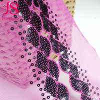 Fashion 6.5 cm pink lace and sequin fabric lace trim