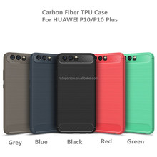 New arrival for huawei p10 cover case carbon fiber brushed metal design soft tpu phone case, p10 plus/p10 lite cases