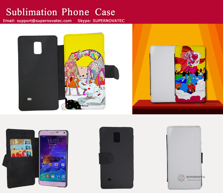 Blank Sublimation Leather Mobile Phone Cover, Full Size Printing for Samsung Galaxy Note 4