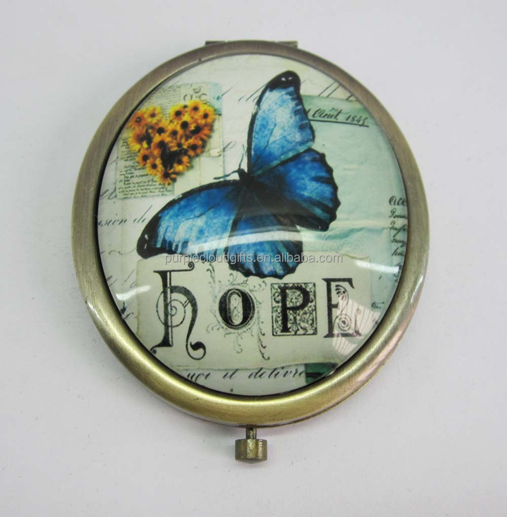 butterfly design bronze plated small oval compact mirror, makeup mirror, pocket mirror