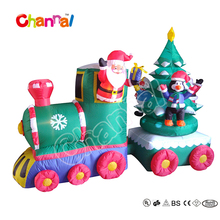 Outdoor Christmas led lights inflatable train with santa and tree