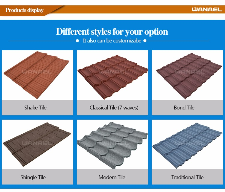 Factory Roofing Material Chinese Japanese Barrel Iron Colorful Stone Coated Metal Roofing Tiles
