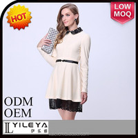 ladies western style long sleeve white 2015 nre style fashion casual women a-line dress