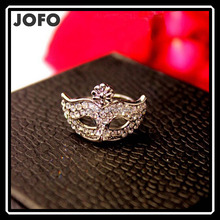 2015 New Hot Fashion Fine Jewelry Wholesale 18 K Gold-plated Full Rhinestone Bohemian Style Mask Wedding Ring For Women