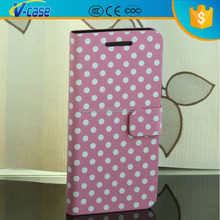 Fashion design dot pattern double dip flip stand case for htc one m7