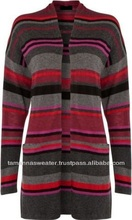 LADIES KNITWEAR- LONG STRIPED KNITTED CASUAL CARDIGAN SWEATER