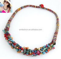 Fashion New Bohemian Colorful Irregular Shaped Beads Cotton Cord Braided Choker Necklace
