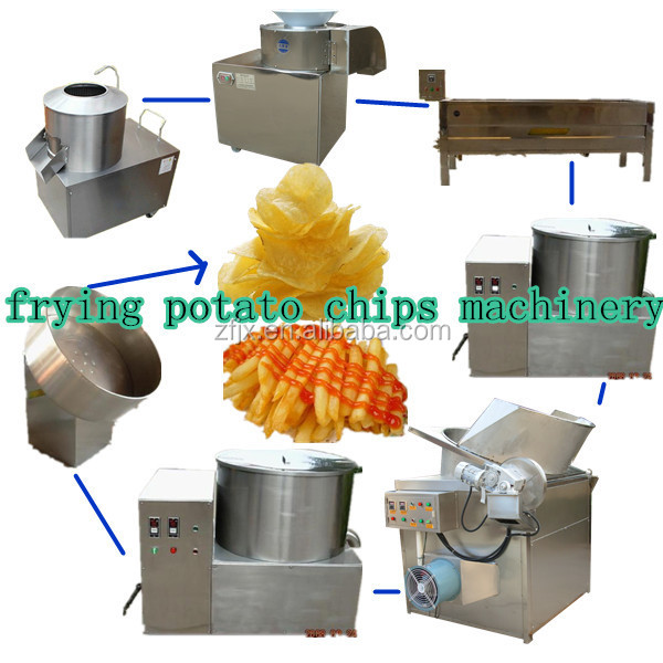 french fried potato chips/ stick cutting frying and packing maker machine (skype:sophiezf3)
