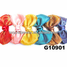fashion adult lady iridescent silk satin ribbon big hair bows