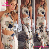 Long leaf print sleeveless two piece summer vintage retro dress