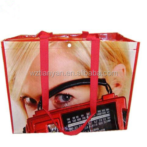 PP woven shopping bag with handle and zipper