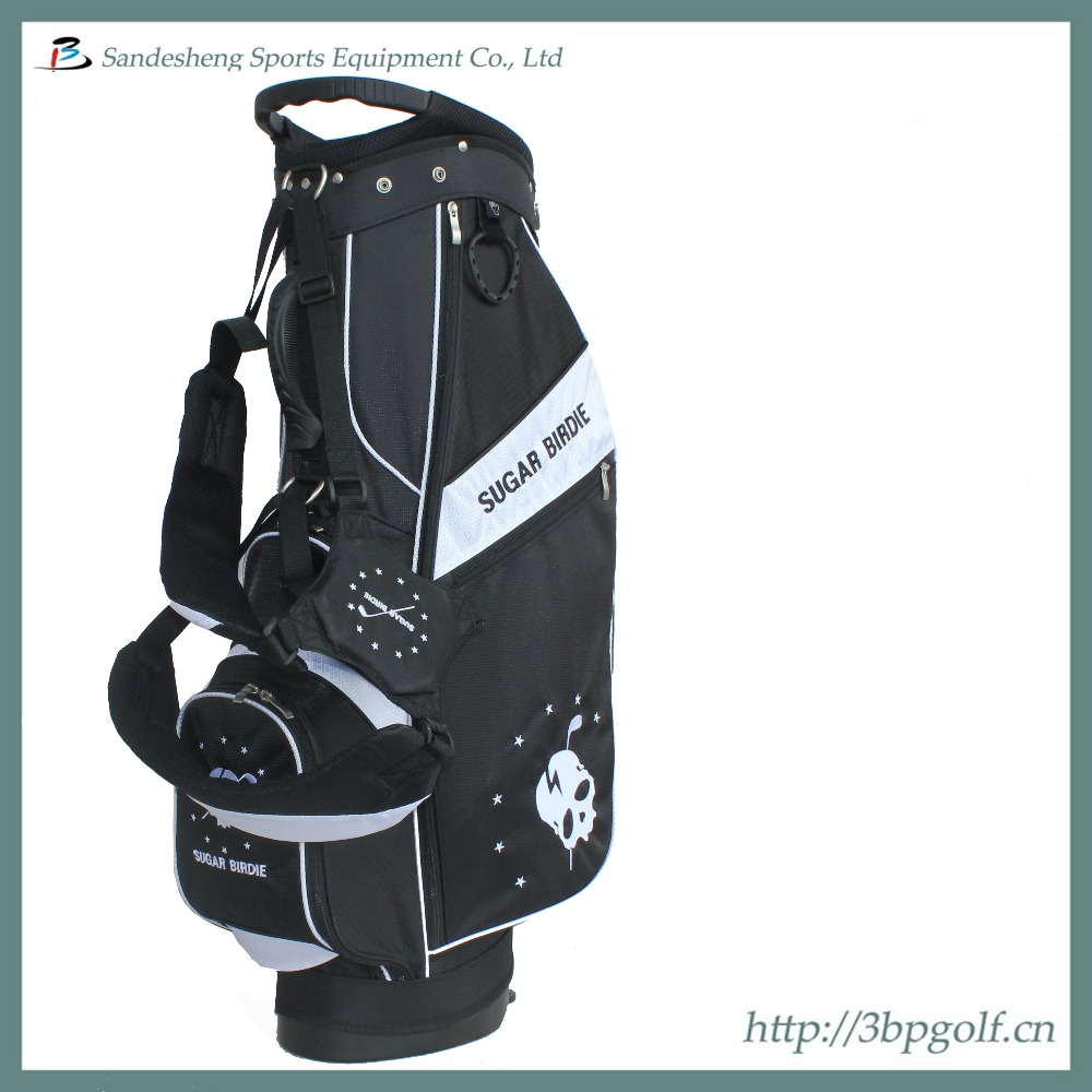 New style hot sale black white stand golf bag