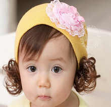 New arrival autumn/winter knit cotton flower cute kids hats with wig for girls safety baby hats