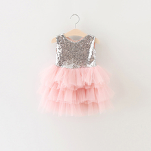 Wholesale children's boutique clothing baby cotton frocks summer princess sequin party dresses one piece tulle girl tutu dress