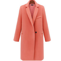 walson 00099S-XL100 Women Wool Coat Autumn Winter Solid Color Casual Tops Outerwear Long Sleeve Single Button Tweed Coat