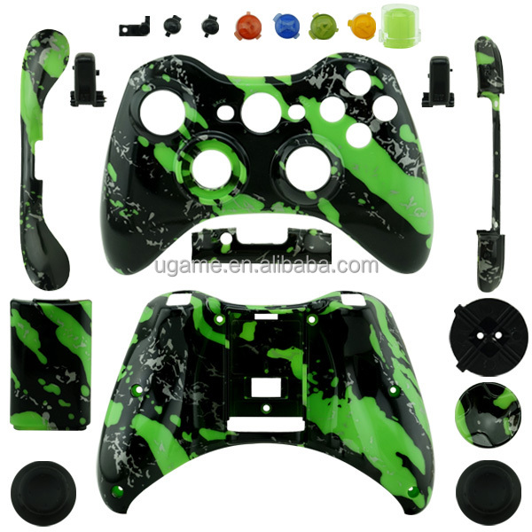 Green Spatter Housing Shell for Microsoft XBOX 360 Wireless Controller Shell