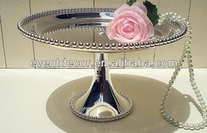 Silver beaded cake plate with metal stand for cupcakes
