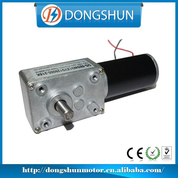 worm drive gear motor dc 12v 24v high Torque low rpm