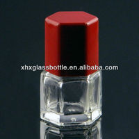 6ml empty hexagon glass jar with brush for nail polish